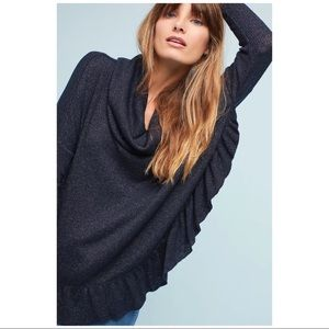 NWT Anthropologie Shine Ruffled Cowl Neck Pullover